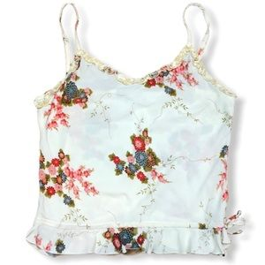 Lucy Love White Floral Tank Top Size L